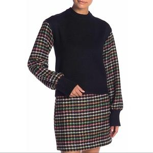 NEW $98 English Factory Checkered Sleeve Knit Top